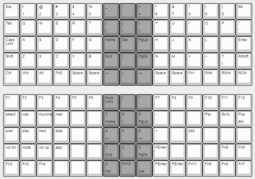 default keymap for xd75re keyboard