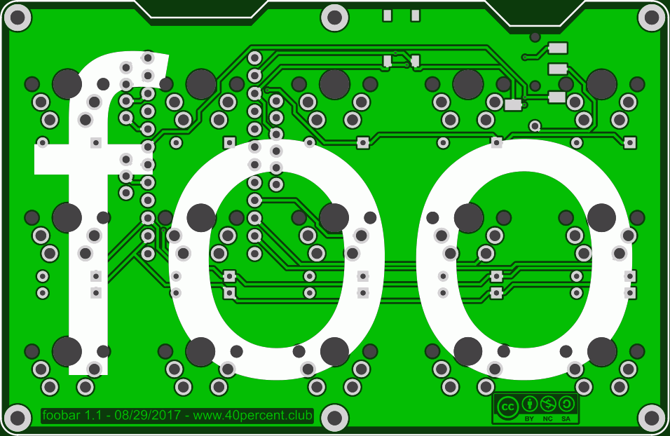 "Picture for the foobar PCB. This is just one side - the other hand will have this in reverse (yes it says ""bar"" on the other side)"